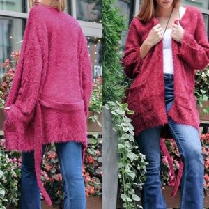 Sweaters - Fuzzy Belted Cardigan